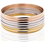 Womens Stainless Steeel 7 Pcs Tri-color Silver/Gold/Rose Gold Tone Bangle Bracelet Set By Huabola