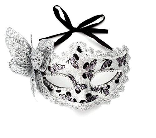 Inception pro infinite maschera veneziana - colore argento - farfalla - donna - glitterata - carnevale - halloween