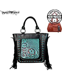 Trinity Ranch NEW- Trinity Ranch Tooled Collection Concealed Handgun Collection Tote/Crossbody (Black)