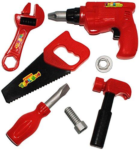 """7 tlg. Set - """" Werkzeug - aus Kunststoff / Plastik """" - für Kinder - Kinderwerkzeug - Bohrmaschine / Akkuschrauber - Hammer Zange Säge - Schraube & Mutter - Maulschlüssel Schraubenzieher - Schraubendreher - Zubehör für Werkzeugkiste / Werkzeugkasten - Bauen - Spielzeugwerkzeug / Werkzeugset - Werkzeuge"""
