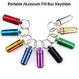 9er Set Mini Pillendosen Aluminium Pillenbox mit Schlüsselbund für Outdoor