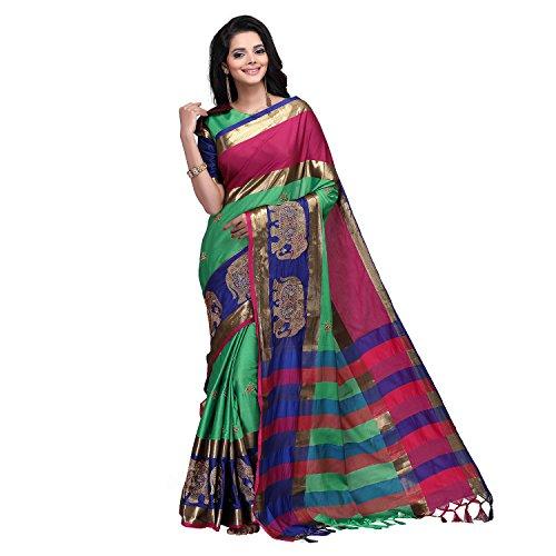 SP AURA Women's Cotton Kota Blend Saree With Blouse Piece (Aangi Hasti....
