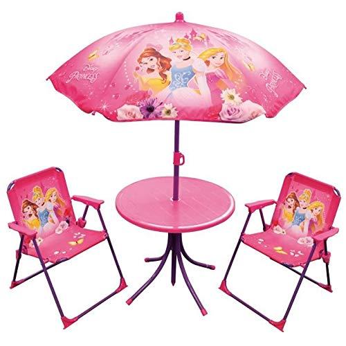 Unbekannt Fun House 712348 Disney Princess Gartenmöbel-Set für Kinder, 1 Tisch, 2 Stühle, 1 Sonnenschirm (Disney Princess Möbel-set)