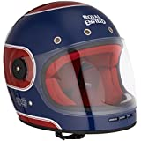 Royal Enfield HEAW17031 Bruntingthorpe Stripes Drifter Helmet (Navy and Red, Large)