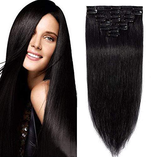 Echthaar Clip in Extensions günstig Haarverlängerung 8 Tressen 18 Clips Remy Human Hair 55cm-75g(#1 Schwarz)