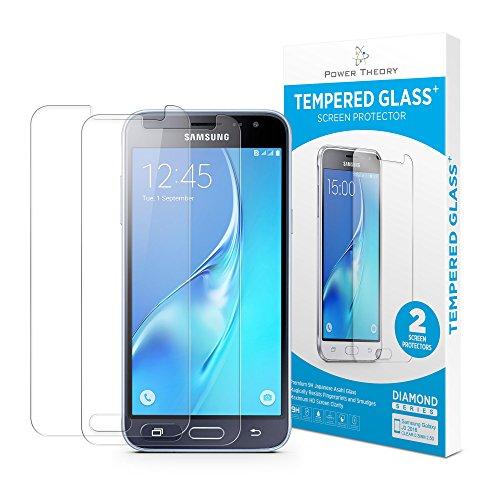 Power Theory Schutzfolie kompatibel mit Samsung Galaxy J3 2016 (2 Stück) - 9H Panzerglas/Panzerglasfolie HD Schutzglas, Bildschirmschutzfolie, Screen Protector Panzerfolie Tempered Glas Glasfolie