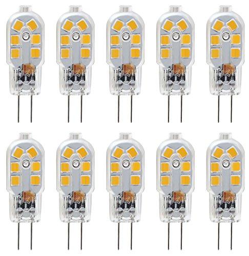 KDP KINDEEP G4 1.5W Bi-Pin Stiftsockel-Lampe 20W Halogenlampen Ersatz, 150LM Warmweiß 3000K, DC/AC 12V, globaler 360° Abstrahlwinkel, Nicht-dimmbar, 10er-Pack. (Bi-pin-sockel W 20)