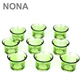 NONA 4,5 cm Teelicht-Gläser - Neun im Set - GRÜN - Teelichtglas Kerzenglas Kerzengläser Teelichthalter