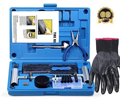 FOCHI Kit Riparazione di Pneumatici, 69 Pezzi set per moto, ATV, jeep, camion, trattori piatto pneumatico riparazione foratu