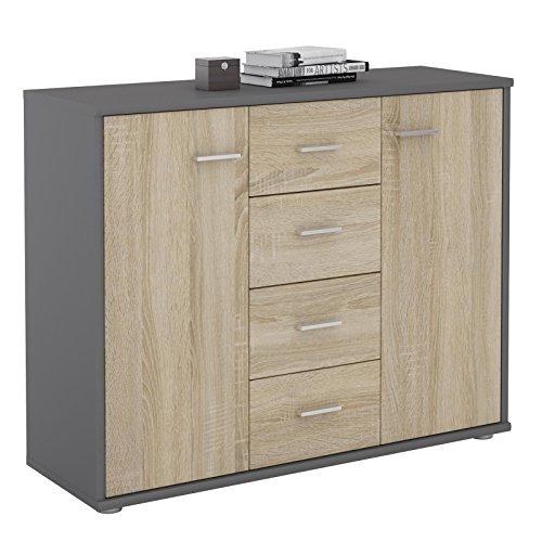 IDIMEX Buffet Elodie, Commode Meuble de Rangement avec 4 tiroirs et 2 Portes, en mélaminé Gris Mat et décor chêne Sonoma