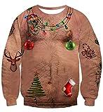 Idgreatim Herren Hässliche Weihnachten Sweaters Christmas Sweatshirt Hairy Chest Crewneck Weihnachten Langarm Pullover für Weihnachten XXL