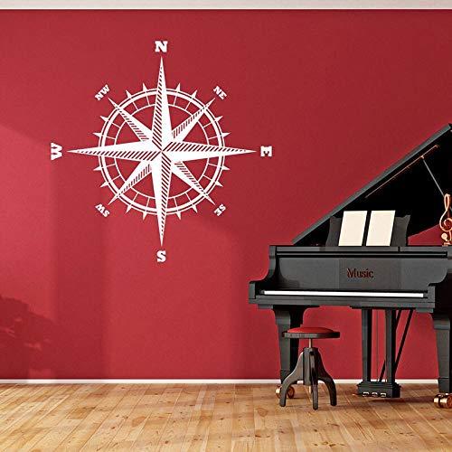 Kompassrose Der Seemann Vinyl Aufkleber Für Wände Nord Südosten West Westen Kompass Vinyl Wandaufkleber Nautische Thema Dekor 42X42CM