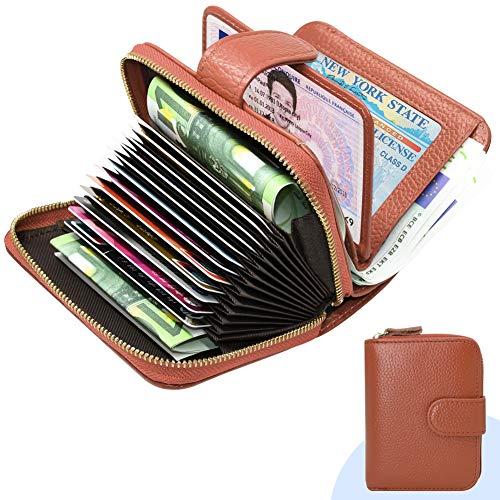 ENONEO Kreditkartenetui RFID Schutz Kartenhalter Geldbörse Damen Leder mit 12 Karten 4 ID Windows & 2 Geld Münzfach Fächer Geldbeutel Damen Klein Portemonnaie Frauen (Braun) -