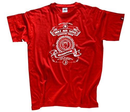 Herz aus Gold Sternzeichen Wassermann T-Shirt rot L