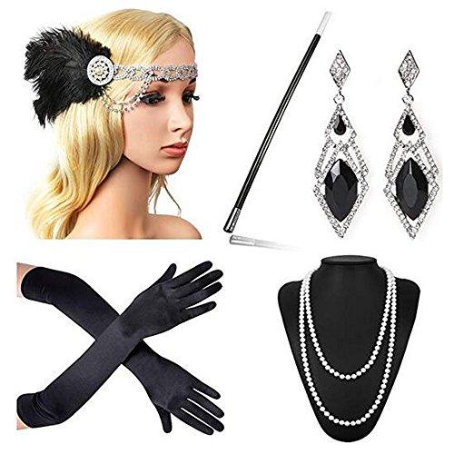 (Beelittle 1920er Jahre Zubehör Set Flapper Stirnband, Halskette, Handschuhe, Zigarettenspitze Great Gatsby Zubehör für Frauen (F6))