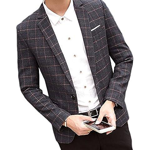 Linyuan Premium Men Casual Slim fit One Button Velvet Suit Blazer Coat (Mens Black Velvet Blazer)