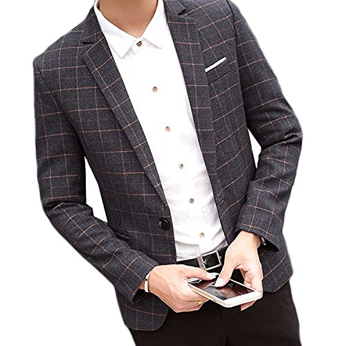 Zhuhaitf Premium Casual Men Slim Fit Suit Jackets Outerwear One Button Velvet Blazer (Mens Black Velvet Blazer)
