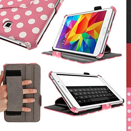 IGadgitz Vintage Collection Funda rosa con lunares blancos de poliuretano de primera calidad para Samsung Galaxy Tab 4 8.0