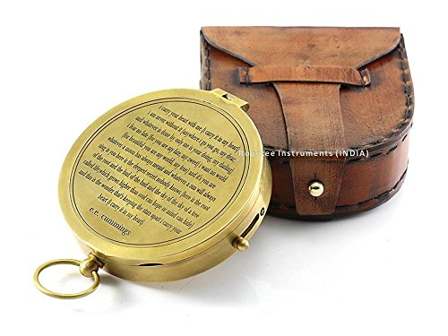 E. E. Cummings Komplette ich tragen Sie Ihr Herz Gedicht auf massivem Messing Kompass mit...