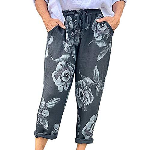 Watopi Frauen Lange Hosen Sommer Boho Floral Hosen Tasche Lose Hosen Übergröße - Jean Arizona Leder-jacke