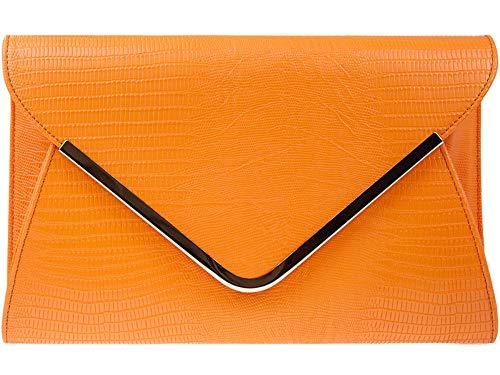H&G Damen Animal Print Croc flachen Umschlag Clutch Abendtasche - Orange -
