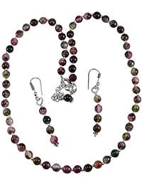 Silvesto India Tourmaline Quartz Gemstone Necklace & Earring Set PG-131336