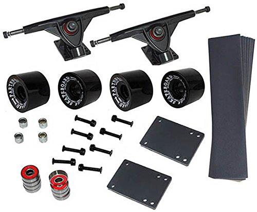 Longboard Set 4ruote in nero 76x 53mm 80A 8x cuscinetti a sfera ABEC-7viti accessori, nuovo