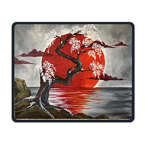 Mouse Pad Japanese Crimson Moon Art Rectangle Rubber Mousepad Length 8.66 Width 7.09 inch Gaming Mouse Pad with Black Lock Edge Crimson Edge