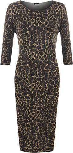 WearAll - Damen Plus Lang Hülle Lurex Glanz Leopard Tier Druck Midi- Kleid - Gold - 44 (Leopard-print-kleid Sleeve)