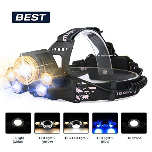 Superheller LED Stirnlampe,SGODDE LED Kopflampe mit 5 LED 8000LM mit Eingebauter Akku Kopfleuchten 5 Modi Perfekt für Camping,Mountainbiking,...