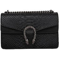 Windwelle Damen PU Leder Quadratische Kette Handtasche Schultertasche Messenger Bag Umhängetasche Von Elelife-Geschäft (Schwarz- L)