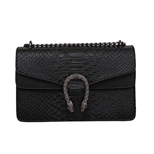 Windwelle Damen PU Leder Quadratische Kette Handtasche Schultertasche Messenger Bag Umhängetasche ( Schwarz- L )