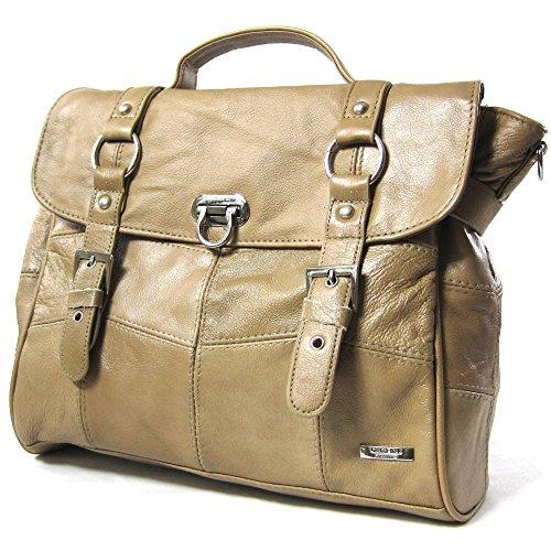 Damen-Ledertasche / Handtasche mit abnehmbarem Schulterriemen (Beige / Schwarz / Braun) Beige