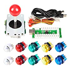 EG STARTS Zero Delay USB Encoder To PC Games Red Joystick + 10x LED Illuminated 5V Push Buttons For Arcade Joystick DIY Kits Parts Mame Raspberry Pi 2 3 3B