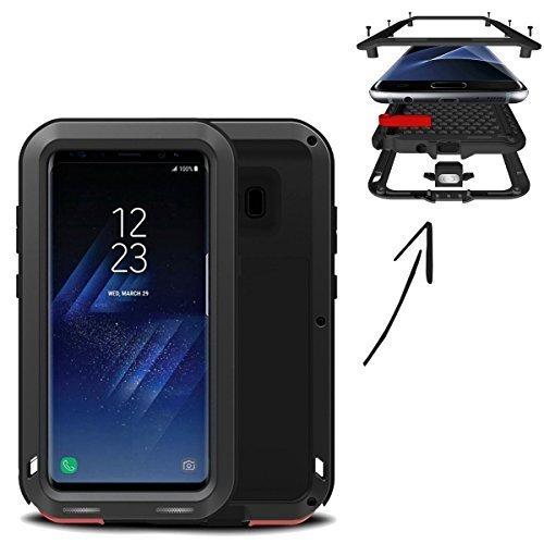 Finoo Wasserdichte Outdoor Handy Hülle für Samsung Galaxy S8 mit Aluminium Legierung | Stoßfestes Robustes Metall Armor Case Cover | Panzer Hülle | Farbe schwarz