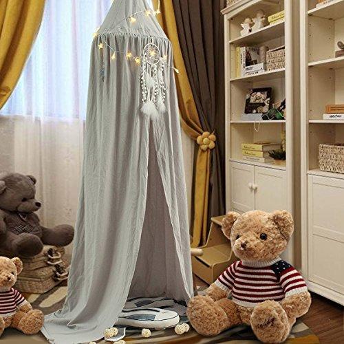 el Baldachin aus Baumwolle Leinwand Deko,Bett-Überdachung für Baby-Kind-zelte aus Cotton Canvas,als Mückenschutz Moskitonetz Insekten-Malaria Schutz,Hohe 240cm,Elephant Grau ()