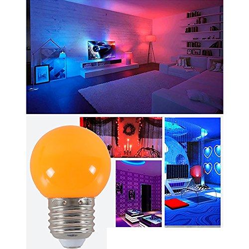 dayoly 100E27Schraube Cap 1W LED Farbige Glühbirnen Globe Lampen für Outdoor Terrasse Urlaub Party Weihnachten Dekoration Beleuchtung AC 220–240V Energiesparend, Orange, E27, 1.00W 220.00V -