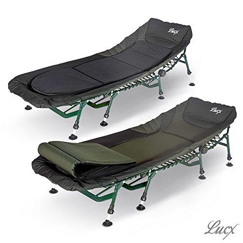 Lucx® 2er Set Bedchair Liege / Angelliege / Karpfenliege / Gartenliege / Campingliege Komfort, 8 Beine, Aluminiumrahmen, Maße (L/B/H): 210 x 85 x 38 cm