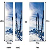 L-com LLL MT046 Snow Mountain Ski-Board Muster 3D DIY Selbstklebend Wasserdicht Türbild Türaufkleber Türposter