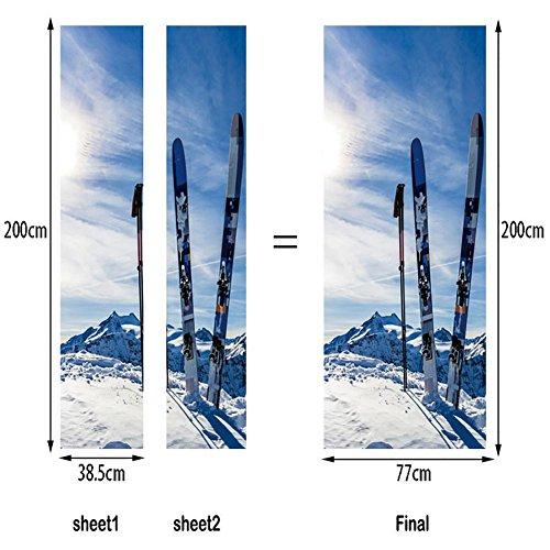 LIU-MT046 Snow Mountain Ski-Board Muster 3D DIY Selbstklebend Wasserdicht Türbild Türaufkleber Türposter -