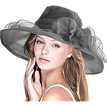 DAFUNNA Pamela ala ancha y flores Organza Seda Sombrero de Sol para Mujer Boda Derby Church