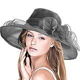 Dafunna Sombrero de ala Ancha Mujer Kentucky de Organza para Bodas diseño de Flores Mullido Gorra Sol de Verano Fiesta Vintage