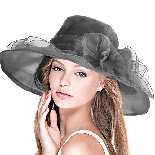 DAFUNNA Sombrero de ala Ancha Mujer Kentucky de Organza para Bodas diseño  de Flores Mullido Gorra 3b6d289cafcb