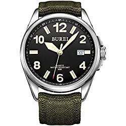BUREI Unisex Datejust Military Watch with Black Dial and Soft Green Canvas Fabric Strap