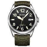 BUREI Unisex Datejust militare orologio con quadrante nero e...