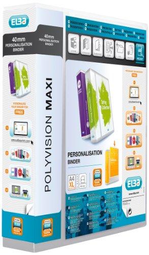 ELBA 100201797 Kunststoff-Ringbuch polyvision Maxi DIN A4 4 Ring-Mechanik 6 cm extra-breit Präsentations-Ordner Ring-Buch Hefter Plastikordner transparent