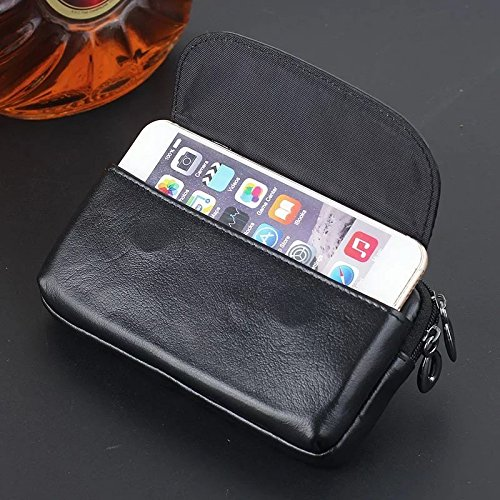 """JIALUN-Telefon Fall 4.0 """"- 5.0"""" Universal Horizontaler Gürtelclip-Kasten Echtes Leder-Holster-Beutel-Mappen-Abdeckung für Huawei P10, iPhone 7, Samsung S7, Google Pixel ( Color : Brown ) Brown"""