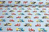 Qualitativ hochwertiger Jersey Stoff von Hilco mit Traktoren digital bedruckt als Meterware mit Öko-Tex Zertifizierung zum kreativen Nähen von Kinder und Baby Kleidung, 50 cm