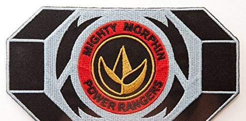 Power Rangers Embroidered Iron on Patch/grün Ranger Morpher Gürtelschnalle Badge Dragon Logo Aufnäher Kostüm Fancy Kleid Motiv (Rangers Mighty Ranger Power Kostüm Yellow Morphin)