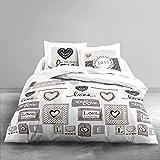 Today 015068 ENJOY Parure de lit Dessin Love Forever avec 2 Taies d'oreiller Coton Blanc/Ficelle 240 x 220 cm